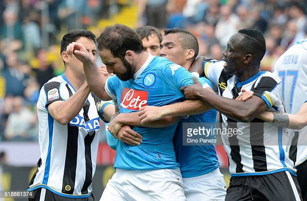 Gonzalo Higuain of Napoli reacts after receiving a red card during the Serie A match between Udinese Calcio and SSC Napoli at Stadio San Paolo on...