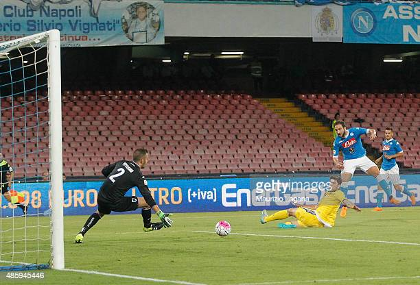 Gonzalo Higuain of Napoli scores his team's second goal during the Serie A match between SSC Napoli and UC Sampdoria at Stadio San Paolo on August 30...