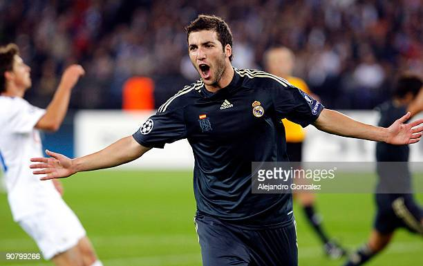 Gonzalo Higuain of Real Madrid celebrates his 30 goal during the UEFA Champions League Group C match between FC Zurich and Real Madrid at Letzigrund...