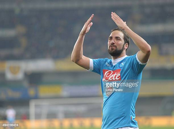 Gonzalo Higuain of SSC Napoli celebrates after scoring his opening goal during the Serie A match between AC Chievo Verona and SSC Napoli at Stadio...
