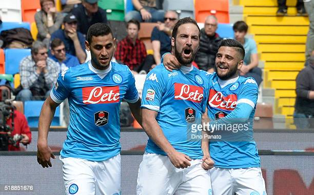 Gonzalo Higuain of SSC Napoli celebrates after scoring his team's first goal during the Serie A match between Udinese Calcio and SSC Napoli at Stadio...