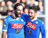 Gonzalo Higuain of SSC Napoli celebrates after scoring the goal 02 during the Serie A match between Frosinone Calcio and SSC Napoli at Stadio Matusa...