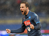 Gonzalo Higuain of SSC Napoli celebrates after scoring the goal 11 during the TIM Cup match between SS Lazio and SSC Napoli at Stadio Olimpico on...