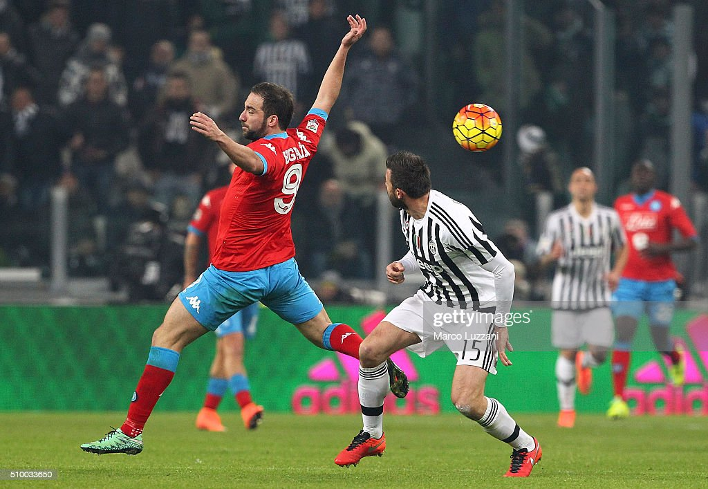 <a gi-track='captionPersonalityLinkClicked' href=/galleries/search?phrase=Gonzalo+Higuain&family=editorial&specificpeople=651523 ng-click='$event.stopPropagation()'>Gonzalo Higuain</a> of SSC Napoli competes for the ball with <a gi-track='captionPersonalityLinkClicked' href=/galleries/search?phrase=Andrea+Barzagli&family=editorial&specificpeople=465353 ng-click='$event.stopPropagation()'>Andrea Barzagli</a> of Juventus FC during the Serie A match between and Juventus FC and SSC Napoli at Juventus Arena on February 13, 2016 in Turin, Italy.
