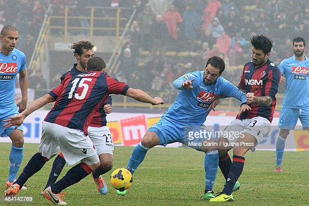 Gonzalo Higuain of SSC Napoli competes the ball with Panagiotis Kone of Bologna FC during the Serie A Bologna FC and SSC Napoli at Stadio Renato...