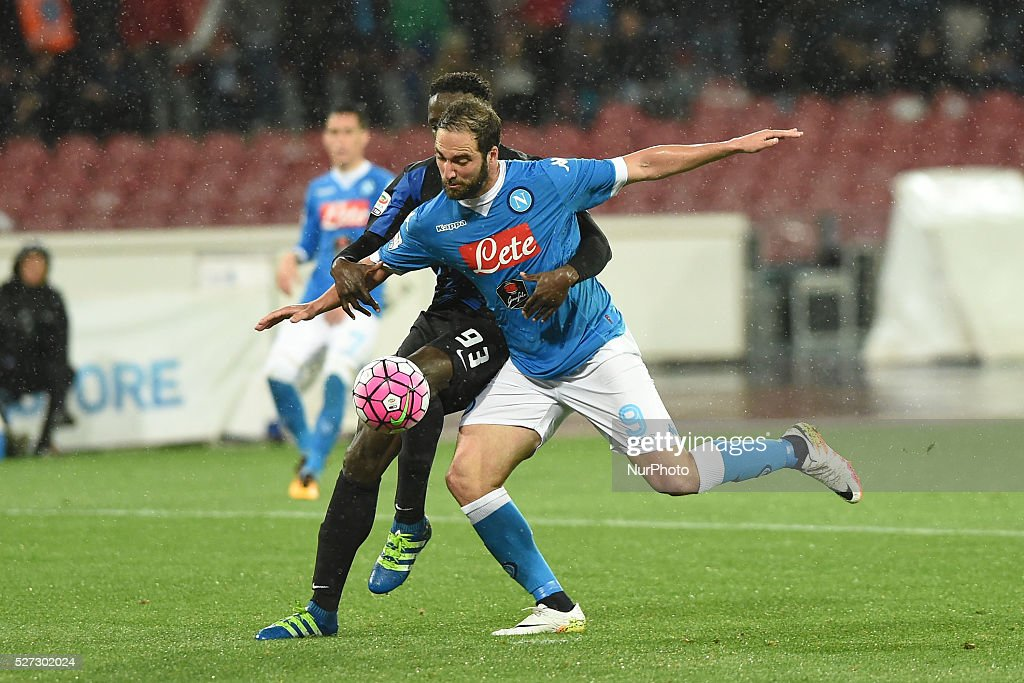 Gonzalo Higuain of SSC Napoli during the italian Serie A football match between SSC Napoli and Atalanta BC at San Paolo Stadium on May 2, 2016 in Naples,Italy.