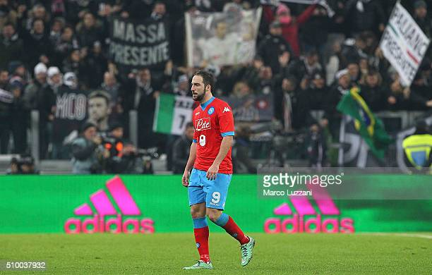Gonzalo Higuain of SSC Napoli leaves the field disappointed at the end of the Serie A match between and Juventus FC and SSC Napoli at Juventus Arena...