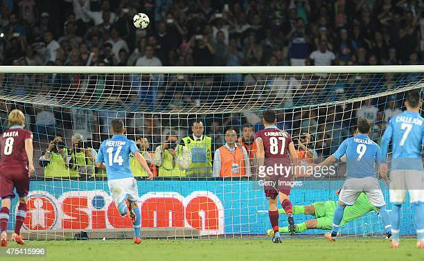 Gonzalo Higuain player napoli ago brings out the rigor during the Serie A match between SSC Napoli and SS Lazio at the Stadio San Paolo May 31 2015...