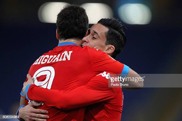 Gonzalo Higuain with his teammate Jose' Maria Callejon of SSC Napoli celebrates after scoring the opening goal during the Serie A match between SS...