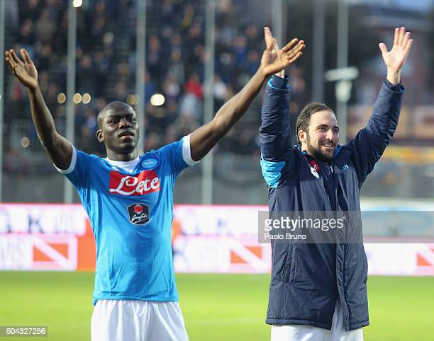 Gonzalo Higuain with his teammate Kalidou Koulibaly of SSC Napoli celebrates their victory after Serie A match between Frosinone Calcio and SSC...