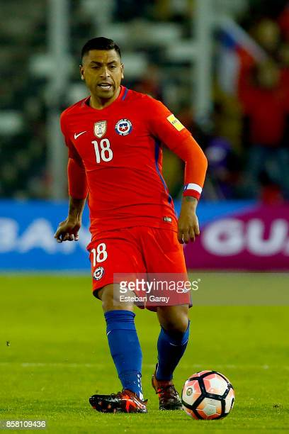 Gonzalo Jara of Chile drives the ball during a match between Chile and Ecuador as part of FIFA 2018 World Cup Qualifiers at Monumental Stadium on...