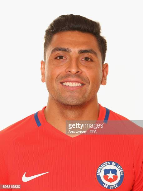 Gonzalo Jara of Chile during a portrait session ahead of the FIFA Confederations Cup Russia 2017 at the Crowne Plaza Hotel on June 15 2017 in Moscow...