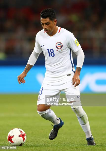 Gonzalo Jara of Chile in action during the FIFA Confederations Cup Russia 2017 Group B match between Cameroon and Chile at Spartak Stadium on June 18...