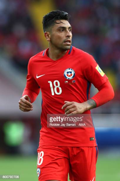 Gonzalo Jara of Chile in action during the FIFA Confederations Cup Russia 2017 Group B match between Chile and Australia at Spartak Stadium on June...