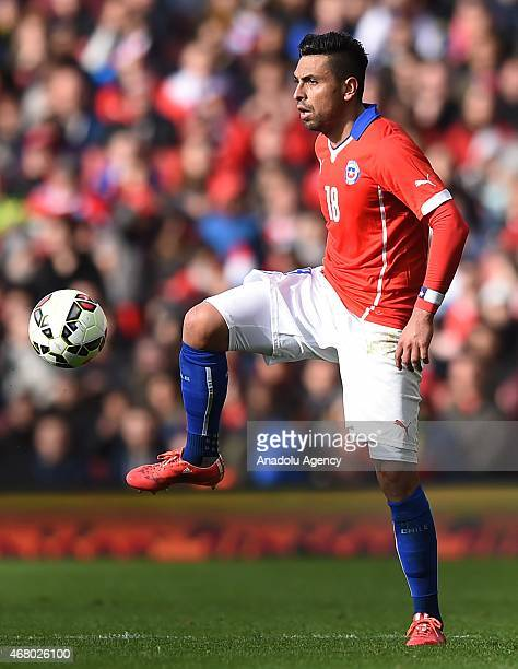 Gonzalo Jara of Chile in action during the International Friendly match between Brazil and Chile at The Emirates Stadium in London England on March...