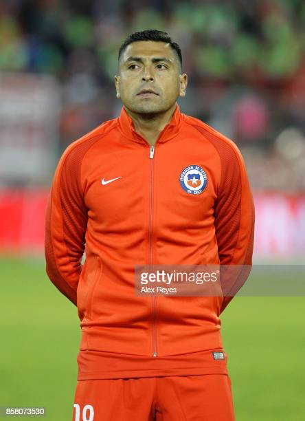 Gonzalo Jara of Chile looks on during the national anthem prior a match between Chile and Ecuador as part of FIFA 2018 World Cup Qualifiers at...