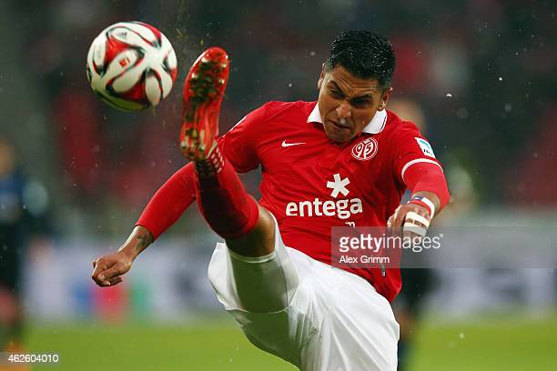 Gonzalo Jara of Mainz clears the ball during the Bundesliga match between 1 FSV Mainz 05 and SC Paderborn at Coface Arena on January 31 2015 in Mainz...
