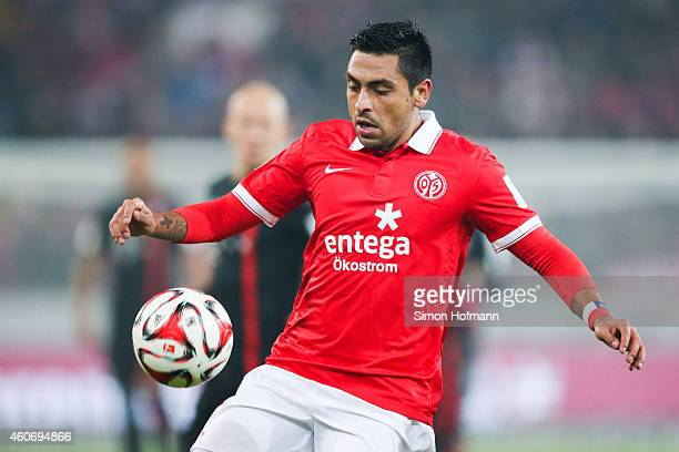 Gonzalo Jara of Mainz controls the ball during the Bundesliga match between 1 FSV Mainz 05 and FC Bayern Muenchen at Coface Arena on December 19 2014...