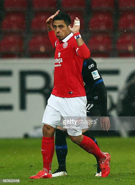 Gonzalo Jara of Mainz reacts during the Bundesliga match between 1 FSV Mainz 05 and SC Paderborn at Coface Arena on January 31 2015 in Mainz Germany