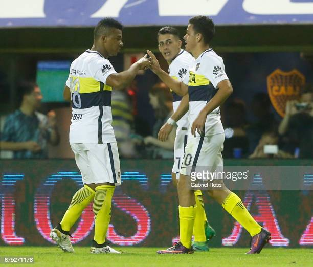 Gonzalo Maroni of Boca Juniors celebrates with teammate Frank Fabra after scoring the third goal of his team during a match between Boca Juniors and...