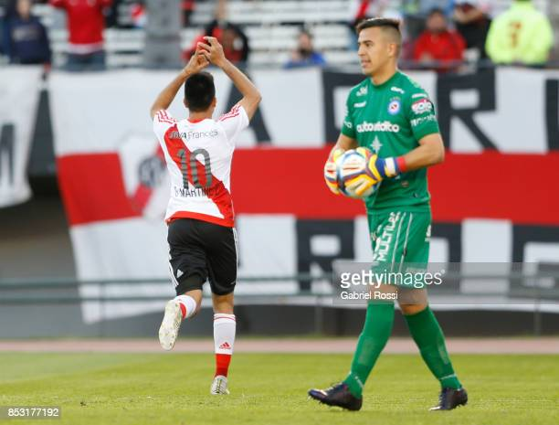 Gonzalo Martinez of River Plate celebrates after scoring the first goal of his team during a match between River Plate and Argentinos Juniors as part...