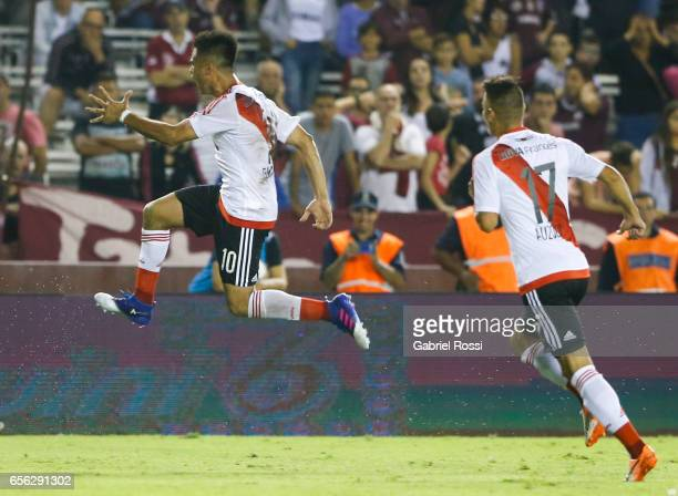 Gonzalo Martinez of River Plate celebrates after scoring the second goal of his team during a match between Lanus and River Plate as part of Torneo...