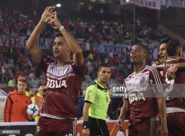 Gonzalo Martinez of River Plate celebrates after scoring the second goal of his team during a match between River Plate and Banfield as part of...