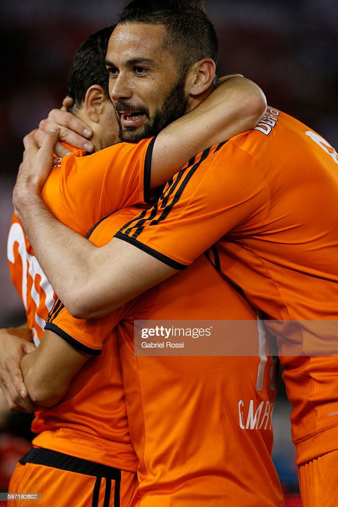 Gonzalo Martinez of River Plate celebrates with teammates after scoring the fourth goal of his team during a match between River Plate and Banfield...