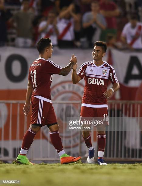 Gonzalo Martinez of River Plate celebrates with teammates after scoring the second goal of his team during a match between River Plate and Belgrano...