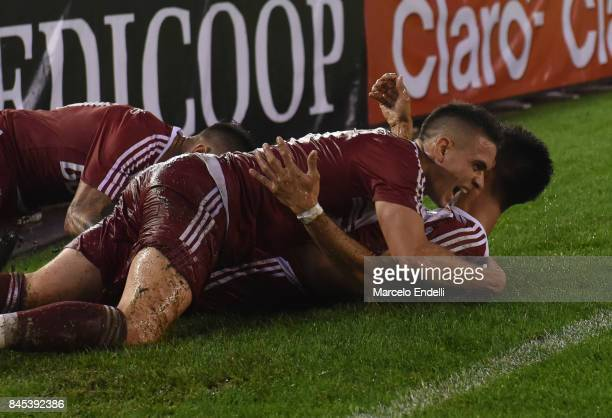 Gonzalo Martinez of River Plate celebrates with teammates after scoring the second goal of his team during a match between River Plate and Banfield...