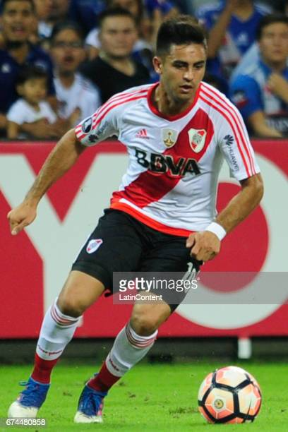 Gonzalo Martinez of River Plate drives the ball during a group stage match between Emelec and River Plate as part of Copa CONMEBOL Libertadores...