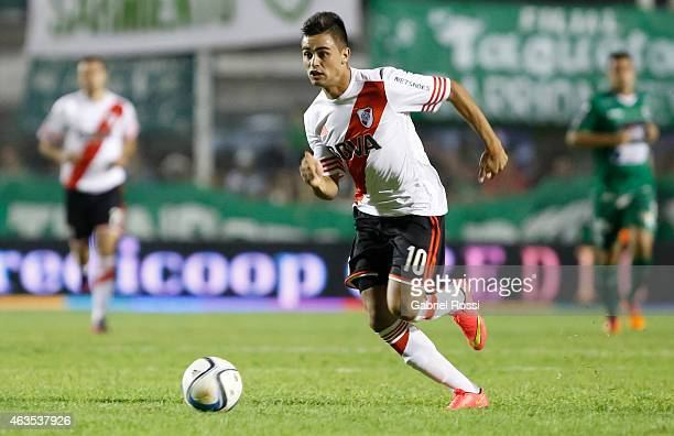 Gonzalo Martinez of River Plate drives the ball during a match between Sarmiento and River Plate as part of first round of Torneo Primera Division...