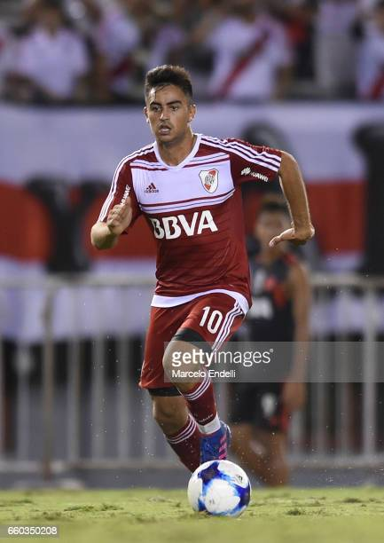 Gonzalo Martinez of River Plate drives the ball during a match between River Plate and Belgrano as part of Torneo Primera Division 2016/17 at...