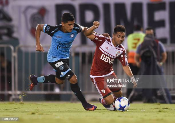 Gonzalo Martinez of River Plate fights for ball with Cristian Romero of Belgrano during a match between River Plate and Belgrano as part of Torneo...