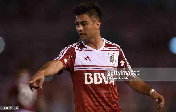 Gonzalo Martinez of River Plate gestures during a match between River Plate and Belgrano as part of Torneo Primera Division 2016/17 at Monumental...