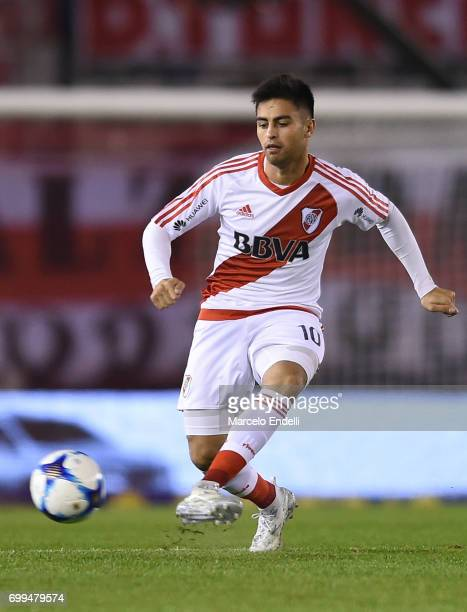 Gonzalo Martinez of River Plate kicks the ball during a match between River Plate and Aldosivi as part of Torneo Primera Division 2016/17 at...