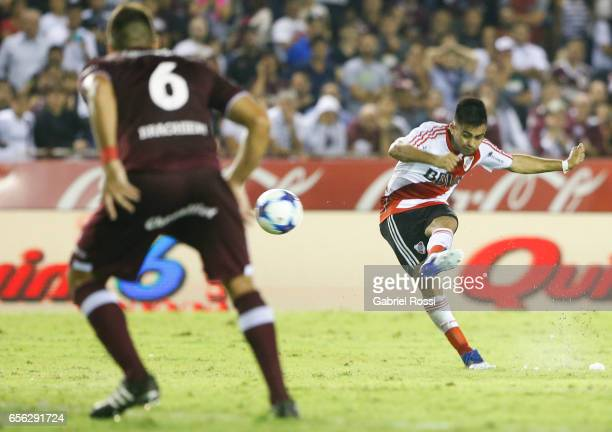 Gonzalo Martinez of River Plate kicks the ball to scores the second goal of his team during a match between Lanus and River Plate as part of Torneo...