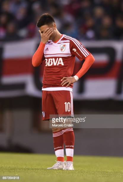 Gonzalo Martinez of River Plate looks dejected during a match between River Plate and Racing Club as part of Torneo Primera Division 2016/17 at...