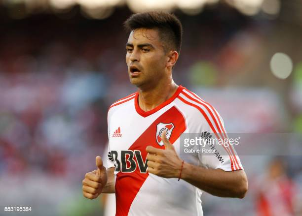 Gonzalo Martinez of River Plate looks on during a match between River Plate and Argentinos Juniors as part of the Superliga 2017/18 at Monumental...
