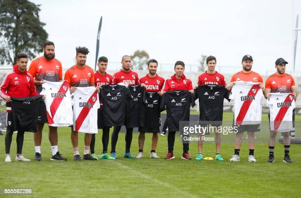 Gonzalo Martinez of River Plate Patrick Tuipulotu of All Blacks Ardie Savea of All Blacks Tomas Andrade Jonatan Maidana Ignacio Scocco of River Plate...
