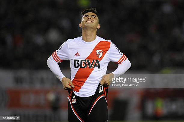 Gonzalo Martinez of River Plate reacts after missing a chance to score during a match between River Plate and Colon as part of 18th round of Torneo...