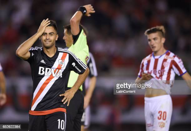 Gonzalo Martinez of River Plate reacts during a match between River Plate and Union as part of Torneo Primera Division 2016/17 at Monumental Stadium...