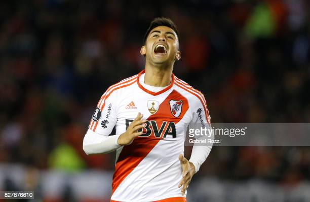 Gonzalo Martinez of River Plate reacts during a second leg match between River Plate and Guarani as part of round of 16 of Copa CONMEBOL Libertadores...