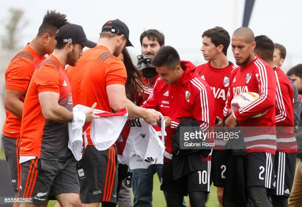 Gonzalo Martinez of River Plate signs a jersey during the New Zealand Rugby Championship Media Day ahead of the match against Argentina at River...