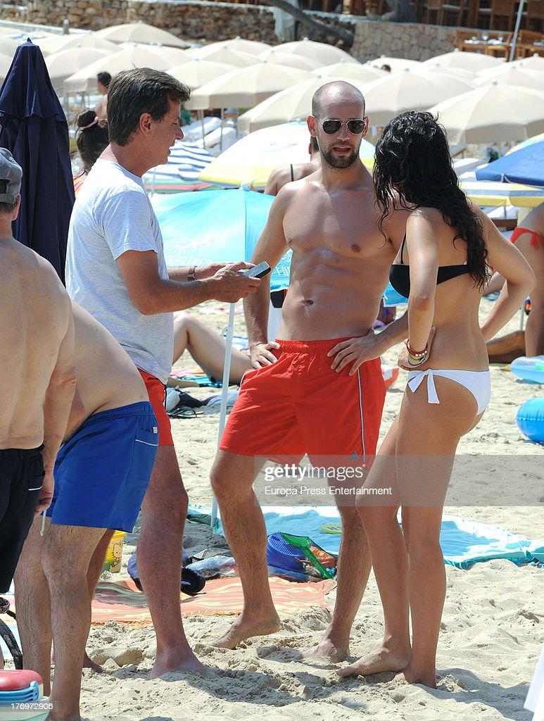 Gonzalo Miro his girlfriend Ana Isabel Medinabeitia and Cayetano Martinez de Irujo are seen on August 17 2013 in Ibiza Spain