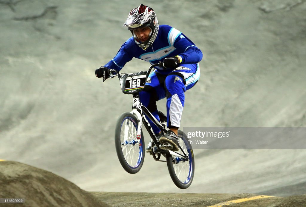 Gonzalo Molina of Argentina competes in the Junior Mens time trial during day four of the UCI BMX World Championships at Vector Arena on July 27, 2013 in Auckland, New Zealand.