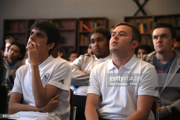 Gonzalo 'Nicolas99FC' Villalba of Argentina and Javier 'Janoz' Munoz of Columbia look on during the players breifing ahead of the FIFA Interactive...
