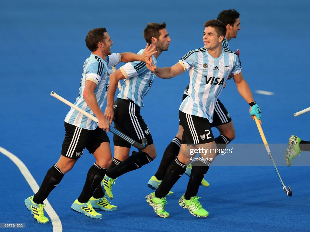 Gonzalo Peillat (R) of Argentina celebrates with teammates after scoring the opening goal during the Pool A match between Argentina and China on day five of Hero Hockey World League Semi-Final at Lee Valley Hockey and Tennis Centre on June 19, 2017 in London, England.