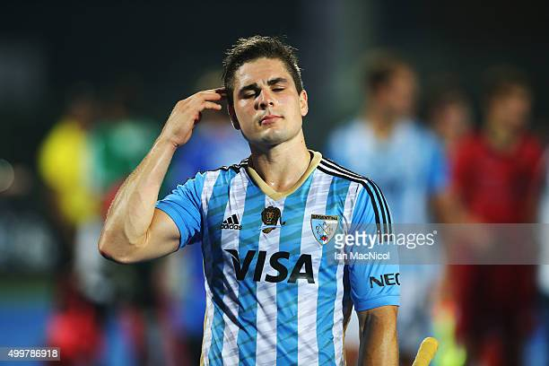Gonzalo Peillat of Argentina leaves the field during the match between Argentina and Belgium on day seven of The Hero Hockey League World Final at...