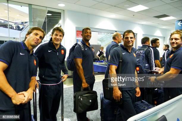 Gonzalo QUESADA / Francois TRINH DUC / Emile NTAMACK / Marc LIEVREMONT / Cedric HEYMANS Arrivee Equipe de France Rugby Coupe du Monde 2011 Auckland